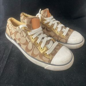 Coach Gema Brown W/Gold Signature Sneakers (7.5)